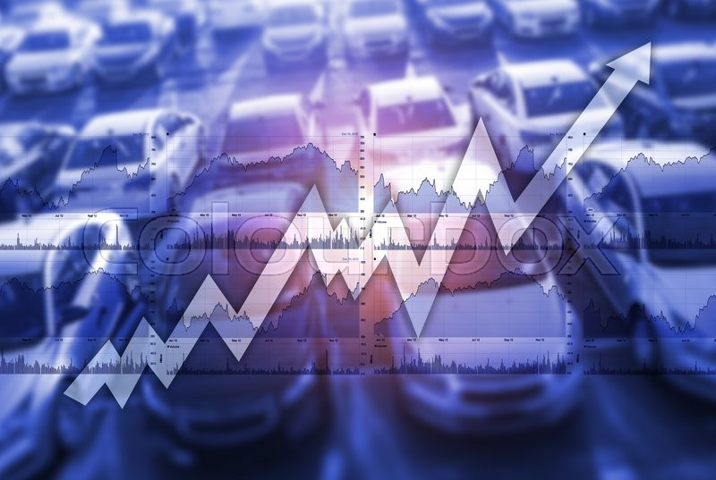 Fast Growing Global Car Sales Market Concept Photo Illustration. , stock photo
