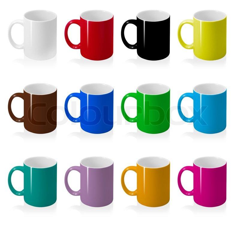 Farbige Tassen Set isoliert auf weißem Hintergrund. | Stockfoto ...