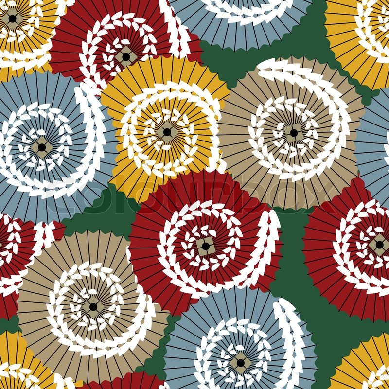 vector japanese pattern with traditional umbrellas | stock vector