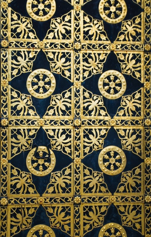 Close Up Image Of Ancient Doors With Golden Ornament