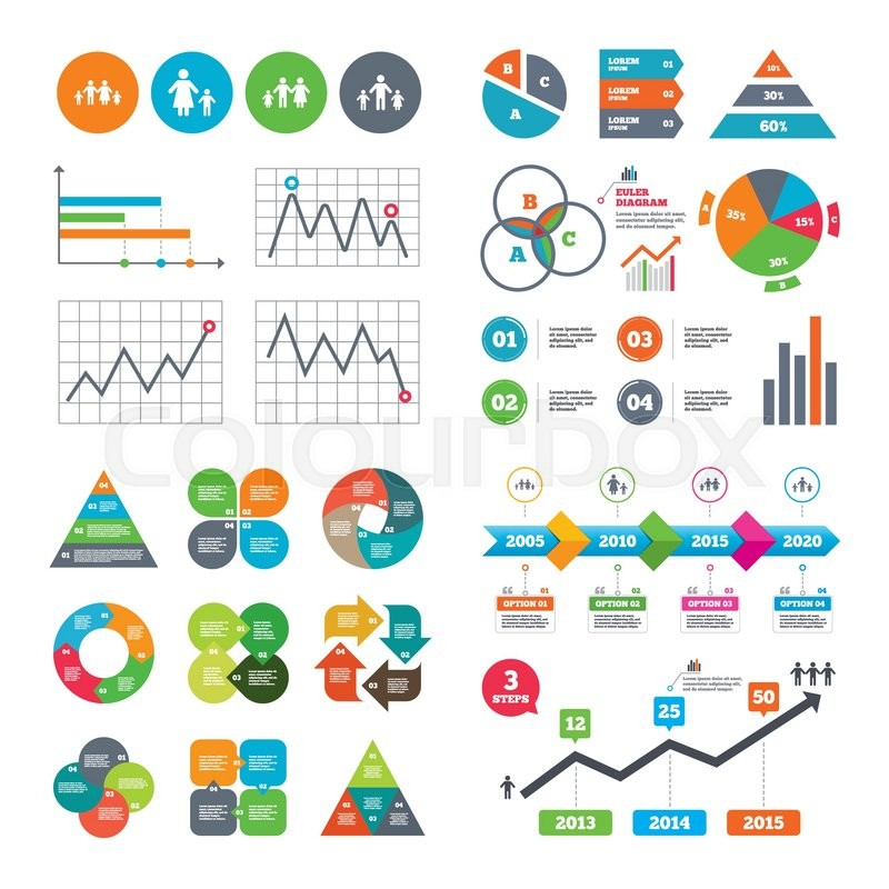 Business Data Pie Charts Graphs Stock Vector Colourbox