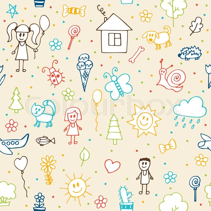 Hand drawn children drawings seamless pattern. Doodle ...