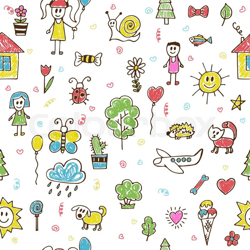 doodle children drawing background - Children Drawing Images