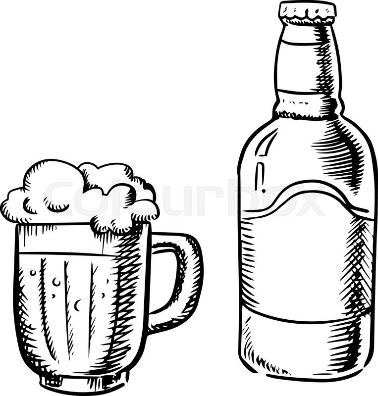 One Line Art Beer : Beer bottle and filled tankard with overflowing froth head