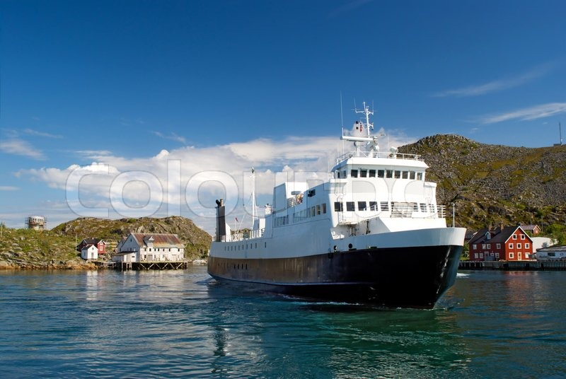 A ferry in a fjord of Norway | Stock Photo | Colourbox