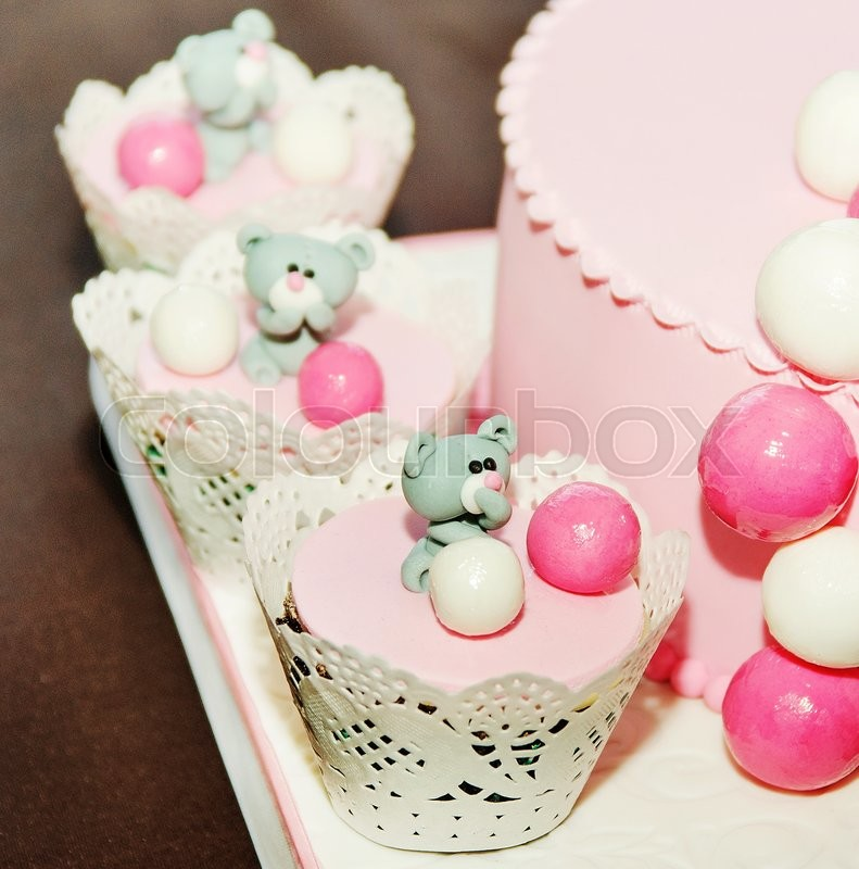 Pink And White Birthday Cake For Baby Girl Stock Photo Colourbox