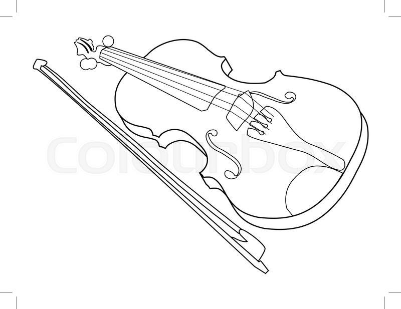 outline illustration of violin  musical instrument