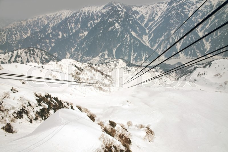Japan Alps,Cable car station, Shinhotaka Ropeway, Takayama Gifu, Japan : allows visitors to take in spectacular views as the crystal-clear blue sky in a grand panoramic view In autumn, stock photo