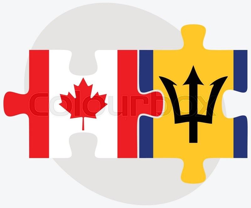 Canada And Barbados Flags In Puzzle Isolated On White Background - north flags