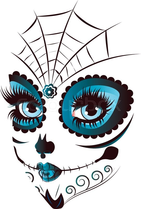 3be55444777 Sugar skull girl face with make up for ... | Stock vector | Colourbox
