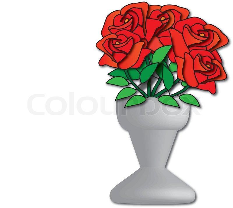 Vave Und Rote Rosen Zeichnen Stock Vektor Colourbox
