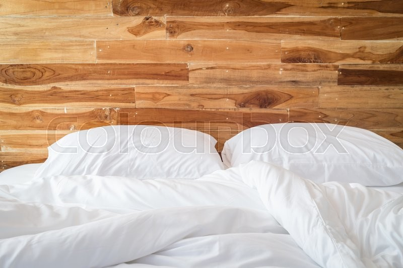 Close Up White Bedding Sheets And Pillow, Messy Bed Concept | Stock Photo |  Colourbox