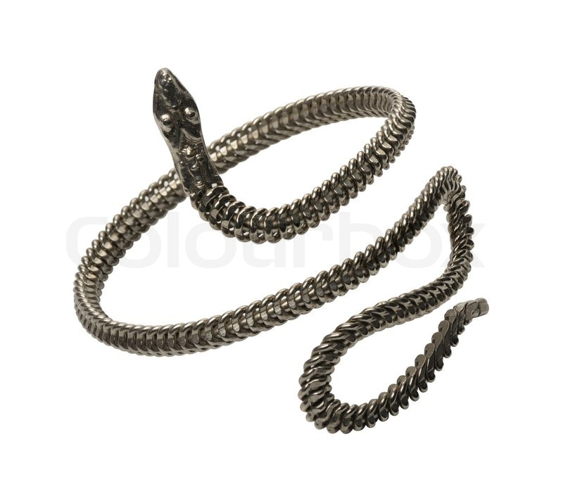 Braided Metal Bracelet In The Form Of Snakes Isolated On