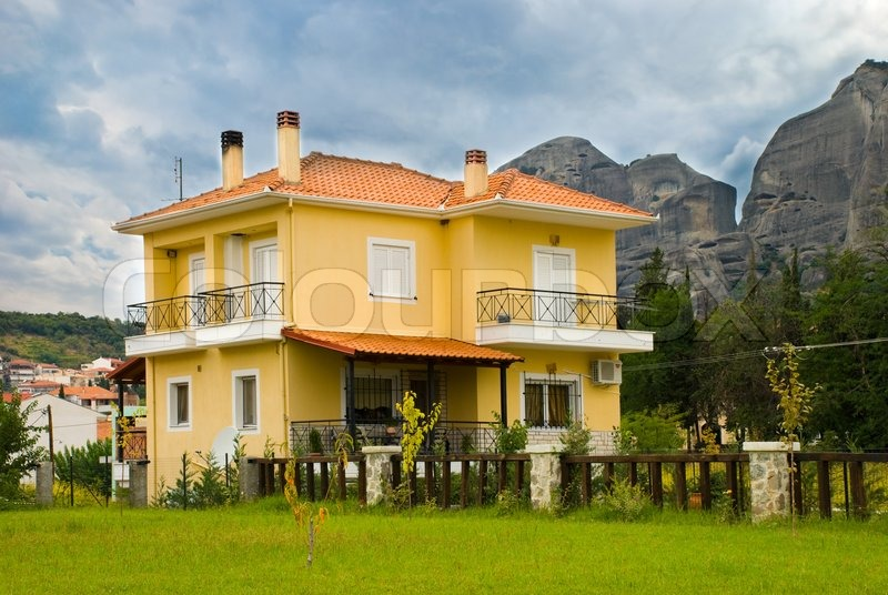 Preferred The European house. Yellow home with red tiled roof. | Stock Photo  BJ51