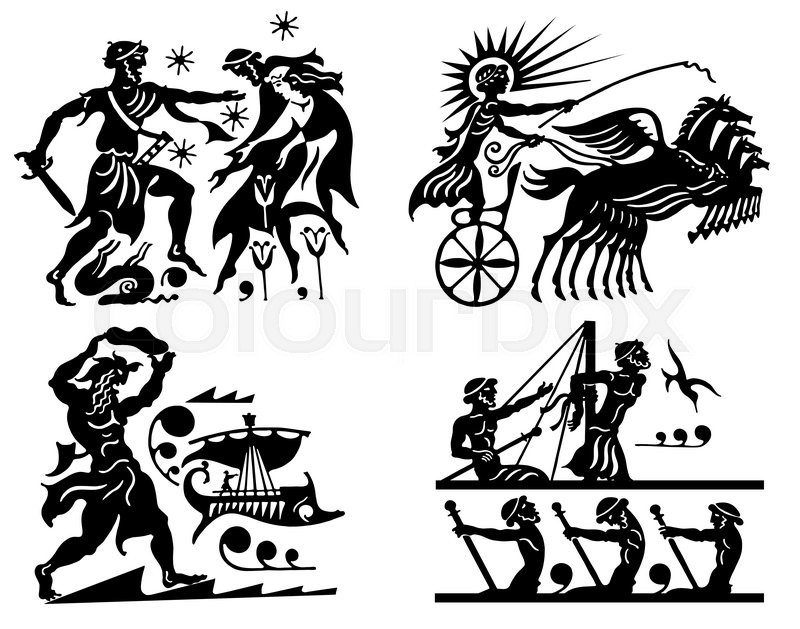 Big Collection Of Silhouettes Of Greeks On A White