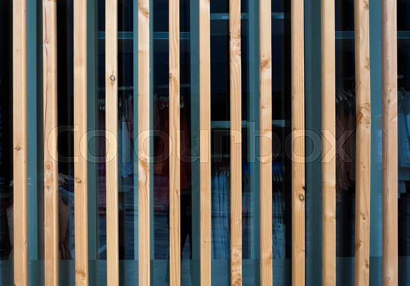 Vertical Wooden Fin Facade Of Modern Stock Photo