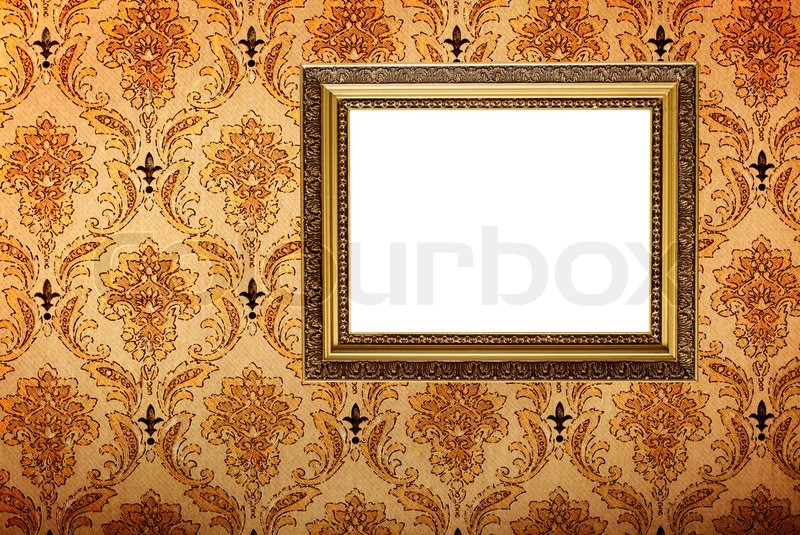 Vintage Gold Plated Picture Frame On Retro Wallpaper Background