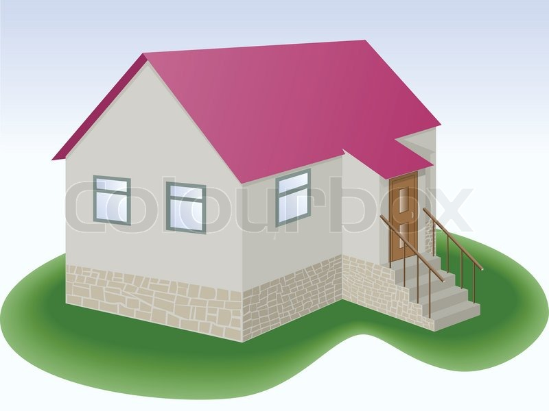 Graue haus mit rotem dach und zus tzlich vektorgrafik for Modernes haus mit rotem dach