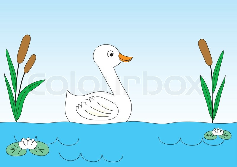 of 'Duck on lake with canes and water-lilies. Children's drawing