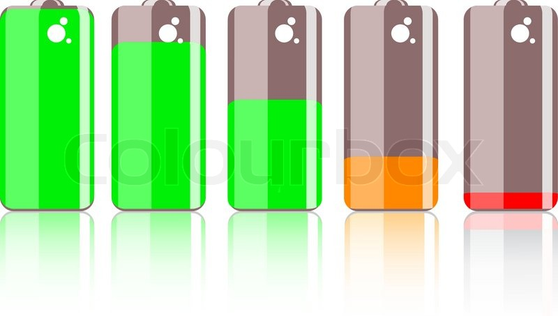 Bunte Batterie-Symbol auf weißem Hintergrund | Vektorgrafik | Colourbox