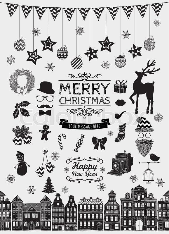 Set Of Black Hand Sketched Christmas Doodle Icons Shapes Symbols