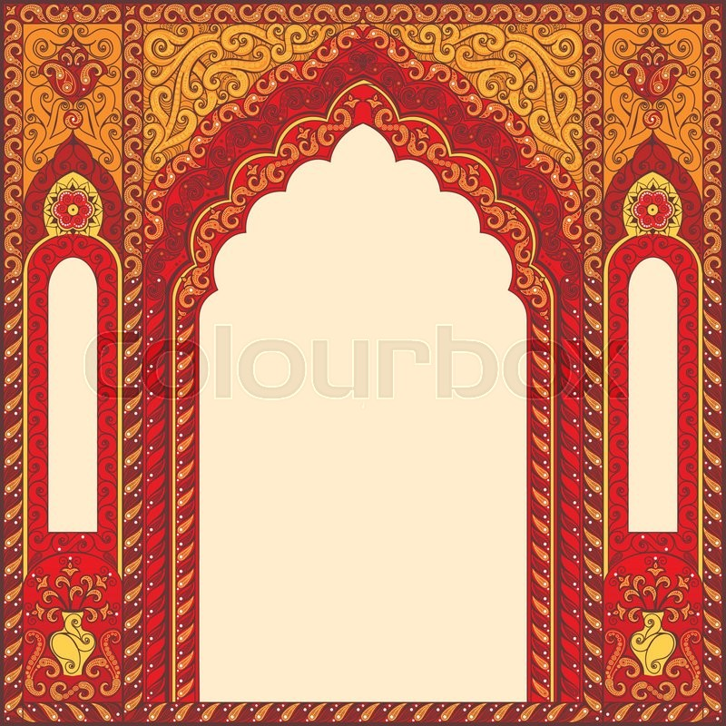 Eastern red frames, arch. Template design elements in oriental style ...