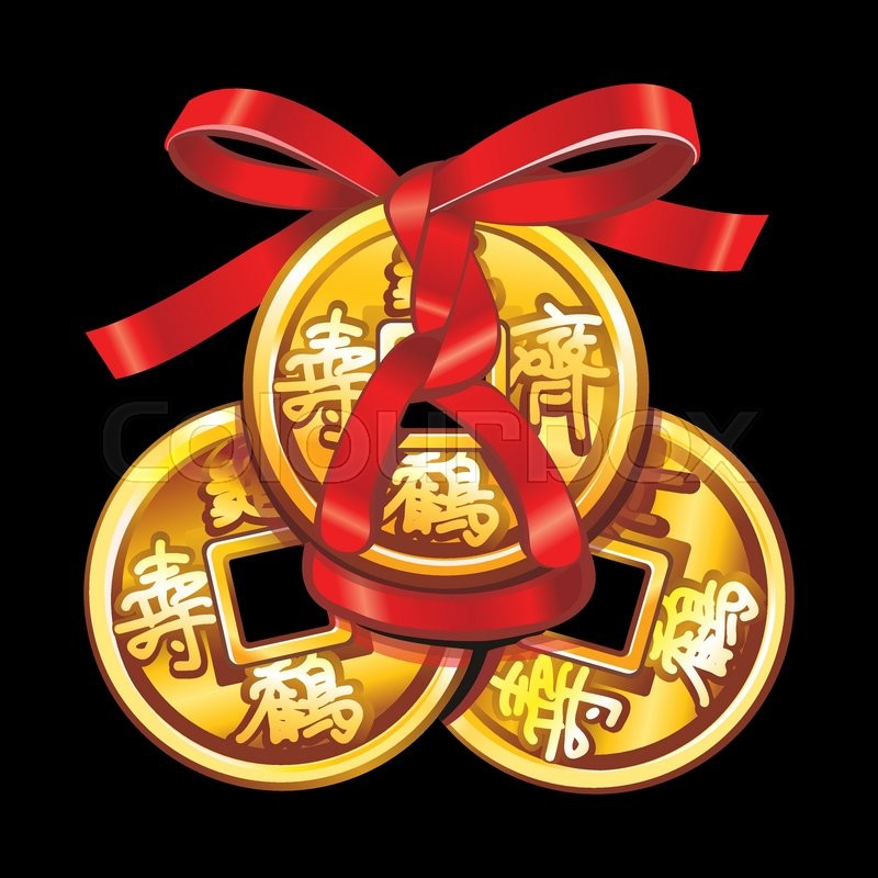 Vector Chinese Coin Tied With Red Ribbon A Square Within A Circle