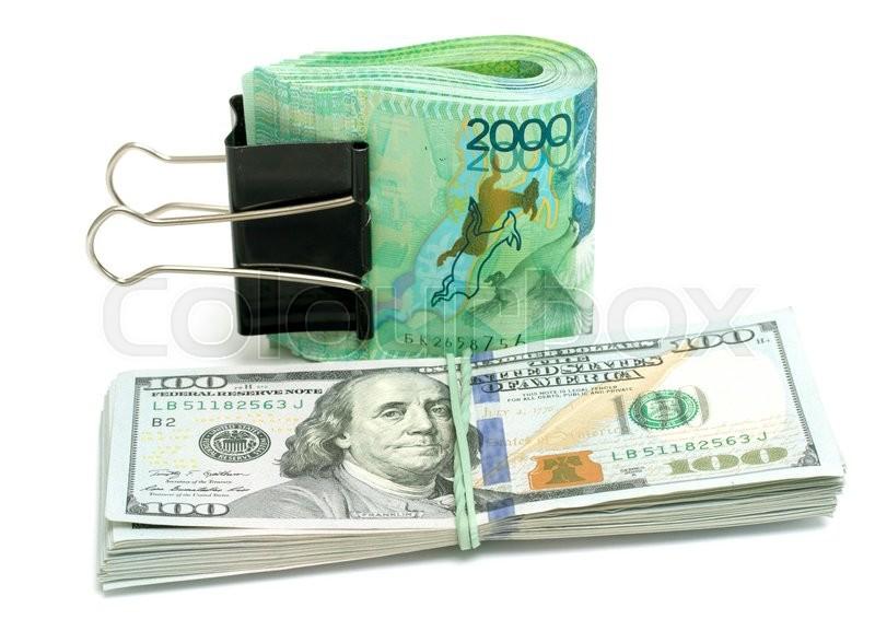 Money Kazakhstan Tenge And Us Dollars Stock Photo