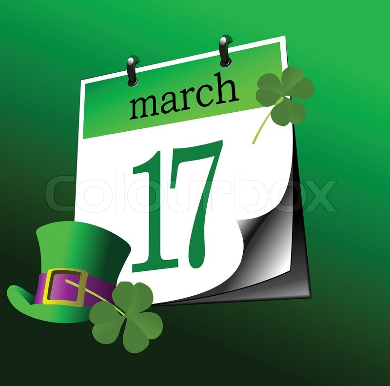 Calendar page of st patrick 39 s day 17 th of march vector - Immagini di st patrick day ...