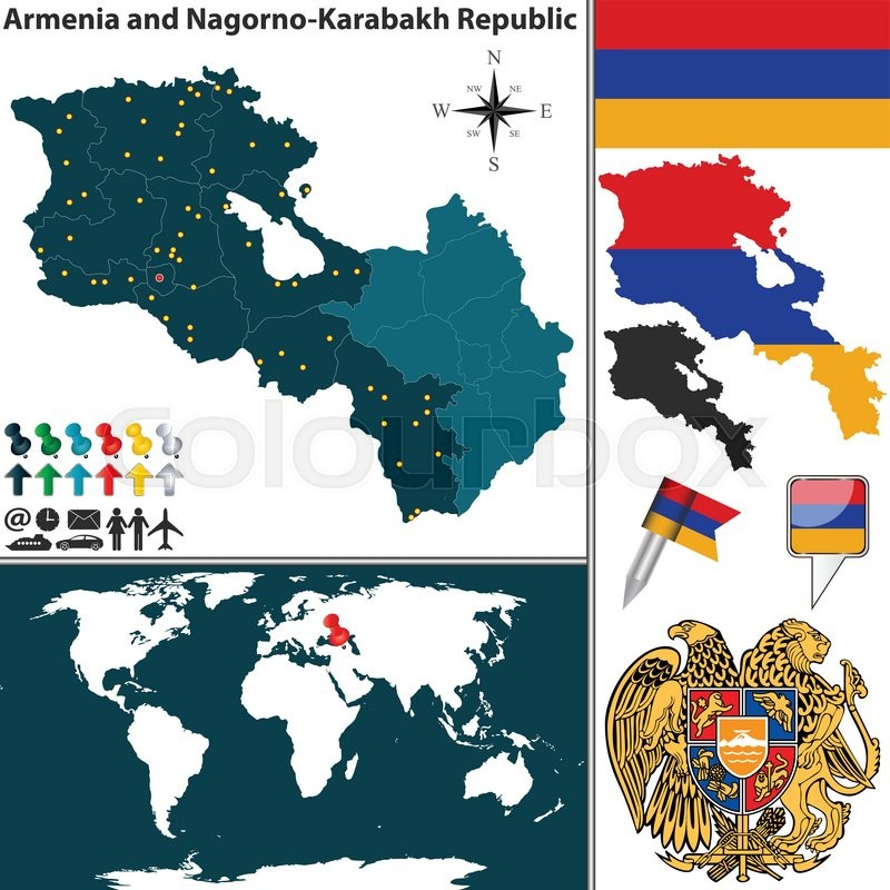 Vector map of armenia nagorno karabakh republic with regions coat vector map of armenia nagorno karabakh republic with regions coat of arms and location on world map stock vector colourbox gumiabroncs Image collections