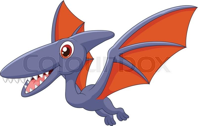 illustration of cute pterodactyl cartoon stock vector