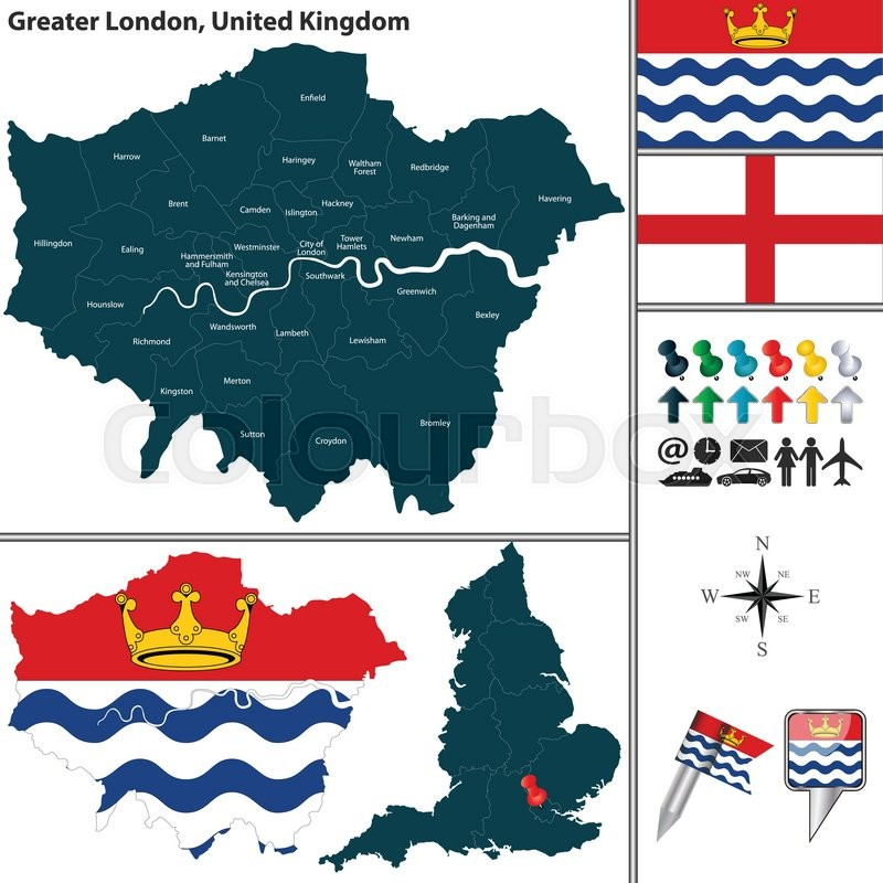 vector map of greater london in united kingdom with regions and flags stock vector colourbox