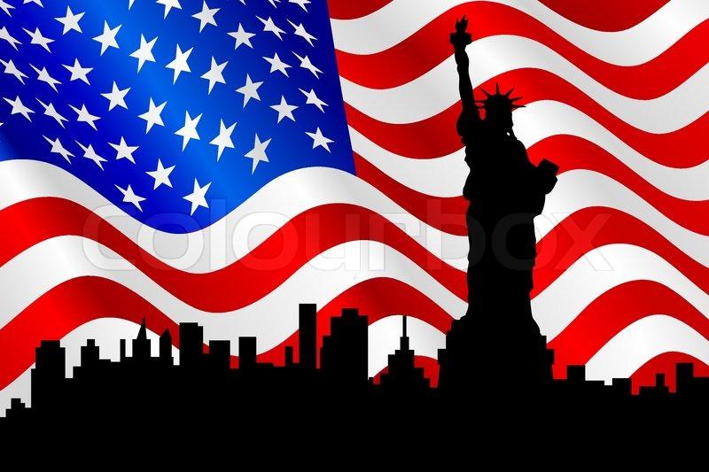 silhouette der freiheitsstatue auf die amerikanische flagge hintergrund vektorgrafik colourbox. Black Bedroom Furniture Sets. Home Design Ideas