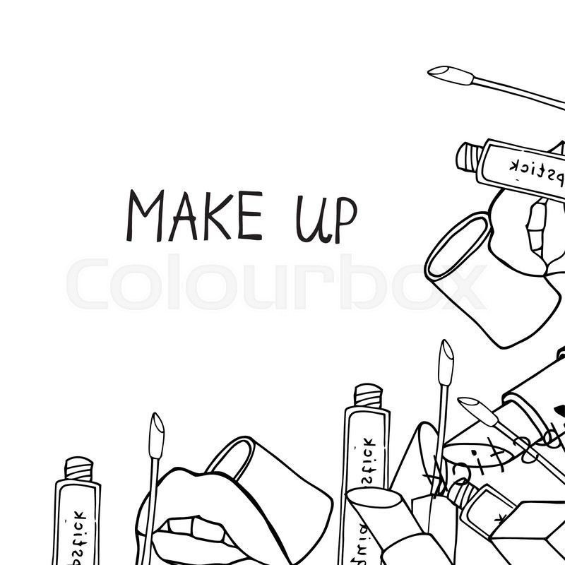 Hand Drawn Set Of Makeup Products Stock Vector
