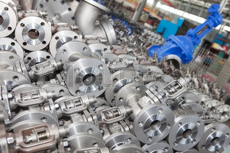 Industrial background from part of valves for power, oil or gas industry, stock photo