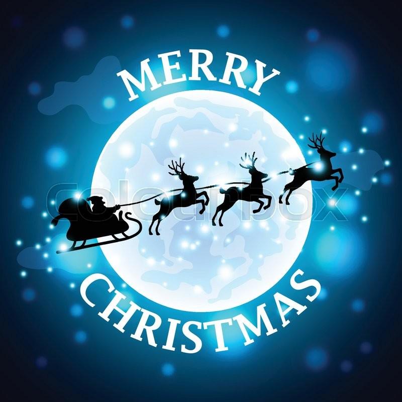 santa reindeer silhouette on moon background realistic vector vector - Santa Reindeer