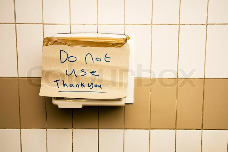 Bathroom Out Of Order out of order hand dryer on a public toilet in england | stock