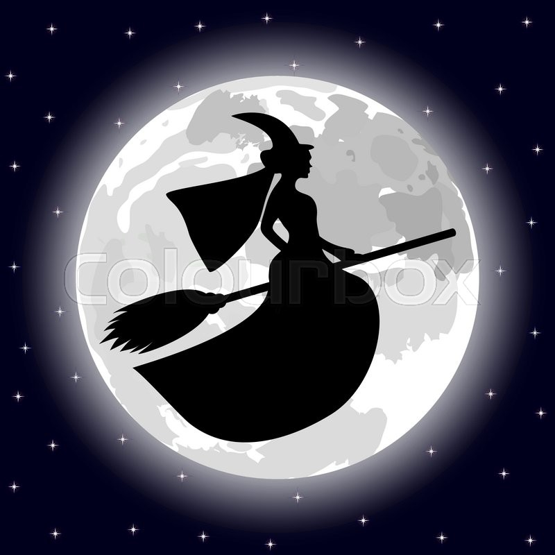 Silhouette Of A Witch On A Background Of The Full Moon Stock