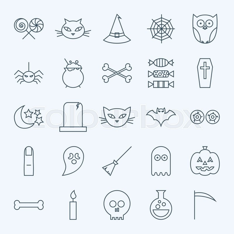 Line Holiday Halloween Icons Set. Vector Set of 25 October Holiday Modern Line Icons for Web and Mobile. Sweets and Treats Scary Icons Collection, vector