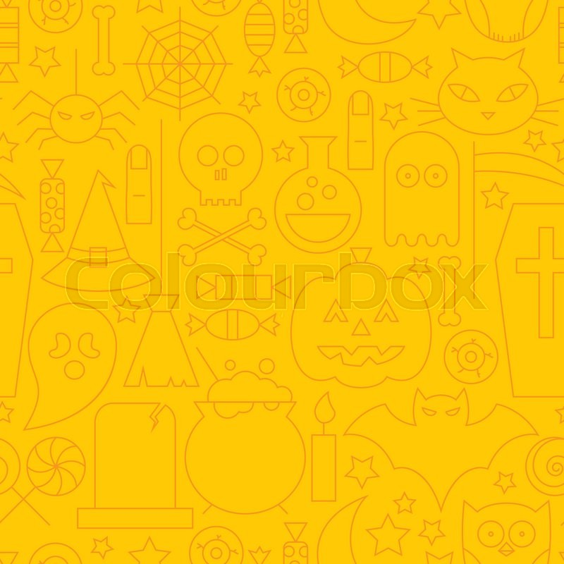 Thin Line Holiday Halloween Orange Seamless Pattern. Vector Scary Party Design and Seamless Background in Trendy Modern Line Style. Thin Outline Art. Sweets and Treats, vector