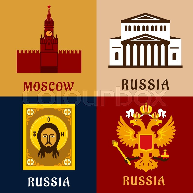 Cultural Historic And Religion Flat Symbols Of Russia With Moscow