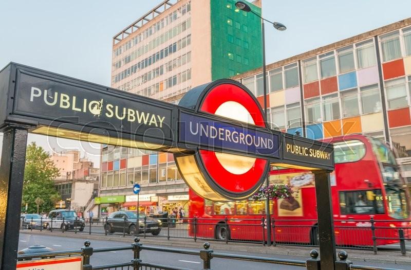 London June 11 2015 Public Subway Sign Entrance London Tube