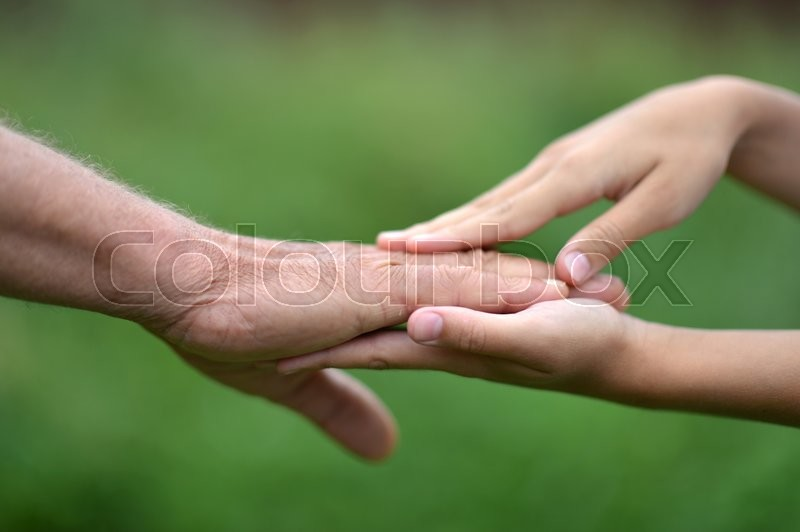 Two hands together against the green natural background, stock photo