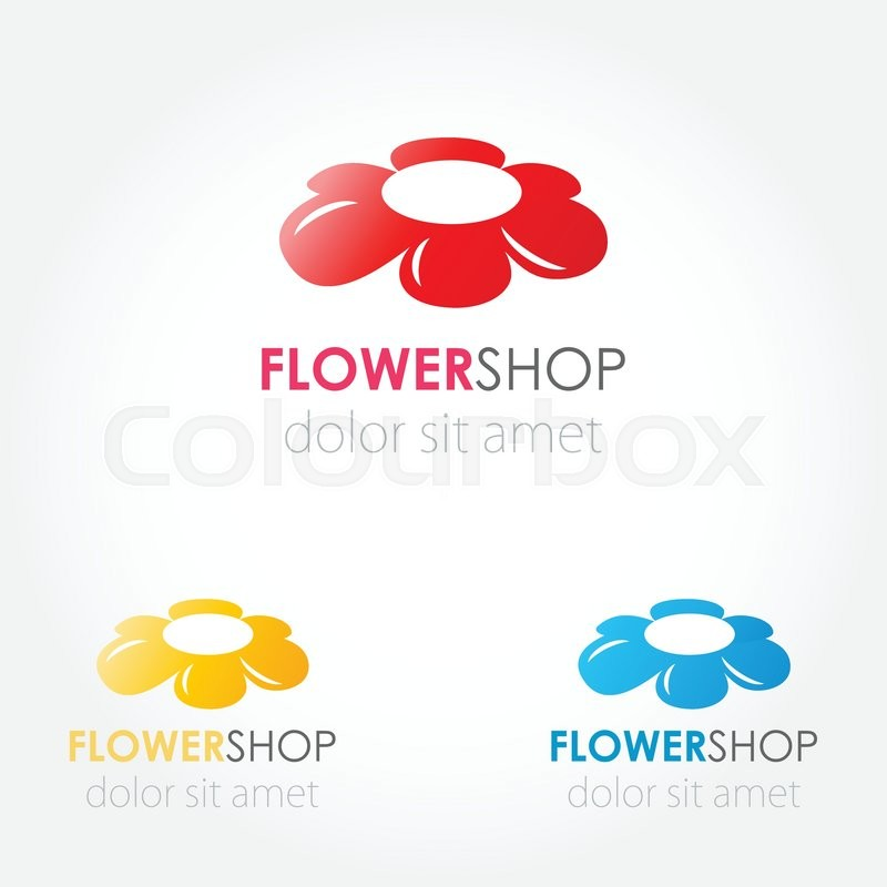 Abstract Flowers Logo Set Red Blue Stock Vector Colourbox
