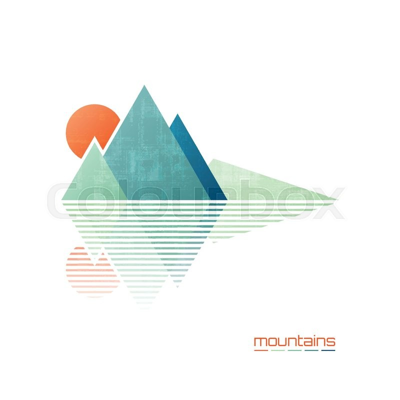 abstract high mountains vector icon travel and rock climbing