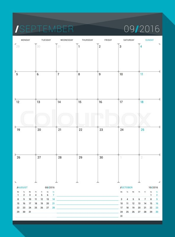 september 2016 vector design print template monthly calendar planner for 2016 year week starts monday stock vector colourbox