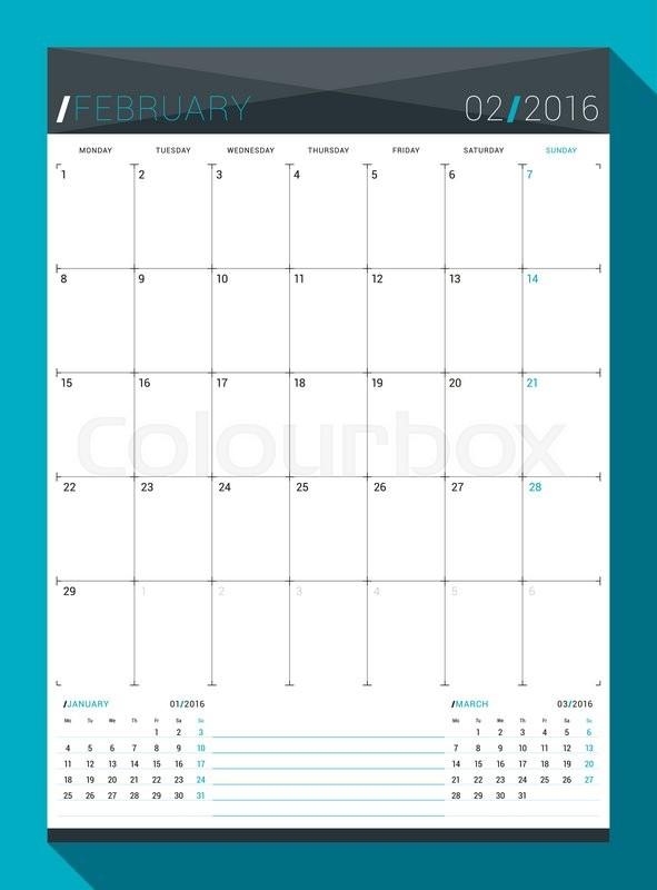 february 2016 vector design print template monthly calendar