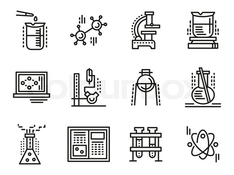 Chemistry Objects Symbols For Education Simple Line Vector Icons