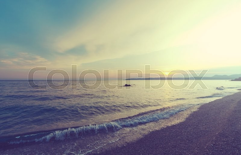 Scenic sunset at the sea, stock photo
