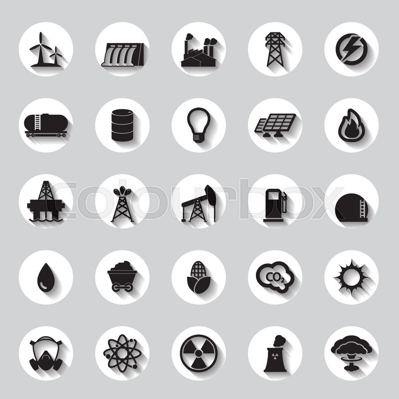 Energy, electricity, power icons Signs and Symbols | Stock Vector ...